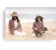 Jean and Charlotte Palmer On the Beach Metal Print