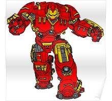 Tony Stark's Hulkbuster Suit Armour , Black outline with colour fill Poster