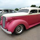 Pink and White Classic Automobile by Barberelli