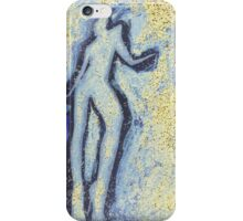 """""""Girl dancing in swirling blues and yellows"""" an analog darkoom photographic print / painting iPhone Case/Skin"""