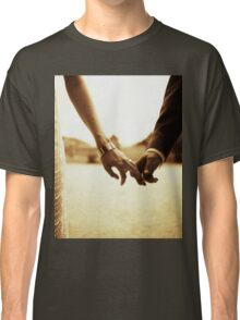 Bride and groom holding hands in sepia - analog 35mm black and white film photo Classic T-Shirt