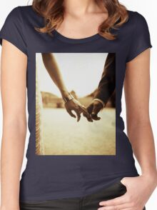 Bride and groom holding hands in sepia - analog 35mm black and white film photo Women's Fitted Scoop T-Shirt