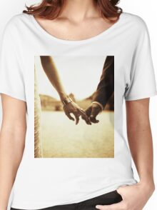 Bride and groom holding hands in sepia - analog 35mm black and white film photo Women's Relaxed Fit T-Shirt
