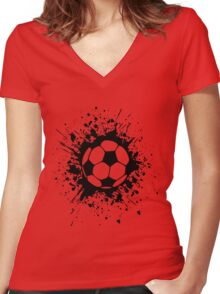 futbol : soccer splatz Women's Fitted V-Neck T-Shirt