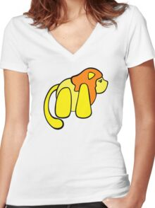 One small lion against the big, scary world Women's Fitted V-Neck T-Shirt