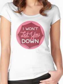 I Won't Let You Down Umbrella (pink) Women's Fitted Scoop T-Shirt