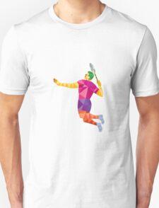 Badminton Player Jump Smash Low Polygon T-Shirt