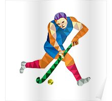Field Hockey Player Running With Stick Low Polygon Poster