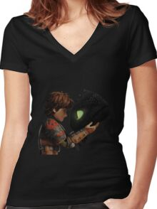 Hiccup & Toothless - Dragon Trainer Women's Fitted V-Neck T-Shirt