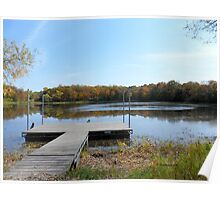 Autumn Landscape at the dock - my favorite spot to catch frogs. Poster