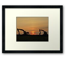 Diggers At Sunset Framed Print