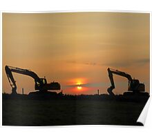 Diggers At Sunset Poster