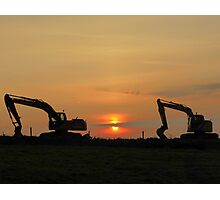 Diggers At Sunset Photographic Print