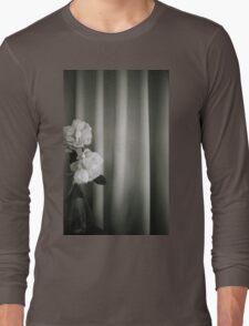 Analog silver gelatin 35mm film photo of white rose flowers in vase Long Sleeve T-Shirt