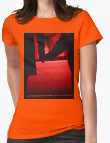 Couple walking romantically hand in hand in silhouette analog photo Womens Fitted T-Shirt