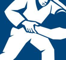 Judo Combatants Throw Circle Icon Sticker