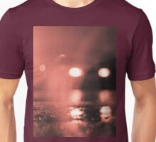 Analog photo of tarmac of street at night with car headlights in rain Unisex T-Shirt