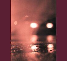 Analog photo of tarmac of street at night with car headlights in rain Unisex T-Shirt