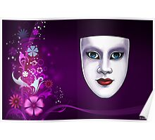 Blue Eyed Mask with Floral Background Print Poster
