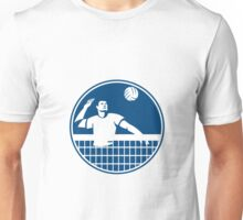 Volleyball Player Spiking Ball Circle Icon Unisex T-Shirt