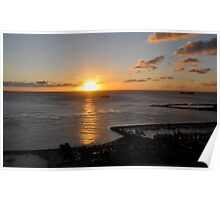 Last Sunset  in Waikiki Poster