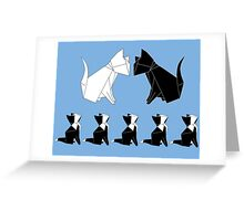 Origami Cat Family (Slate Blue) Greeting Card