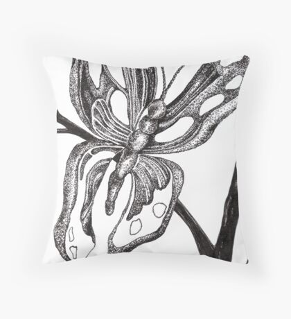 Learning to Fly, Ink Drawing Throw Pillow