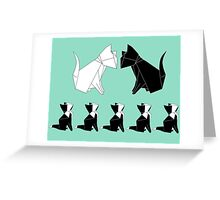 Origami Cat Family (Sage Green) Greeting Card