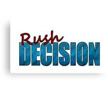 Rush Decision Blue Paper Canvas Print