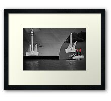 Two men and a dingy Framed Print