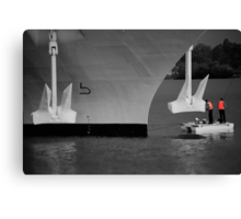 Two men and a dingy Canvas Print