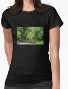 Springtime Stroll on a Country Lane Womens Fitted T-Shirt