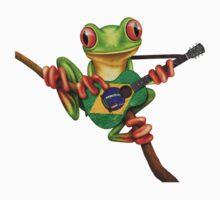 Tree Frog Playing Brazilian Flag Guitar Kids Clothes