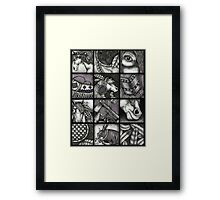 Painted War Ponies - Black and White Montage - Detailed - Hyper Realistic Framed Print