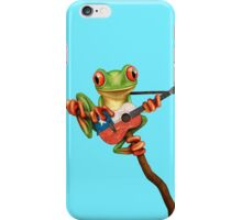Tree Frog Playing Chilean Flag Guitar iPhone Case/Skin