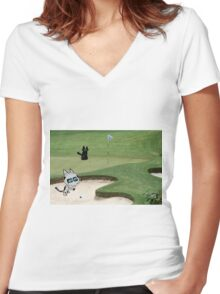 Cats Playing Golf Women's Fitted V-Neck T-Shirt