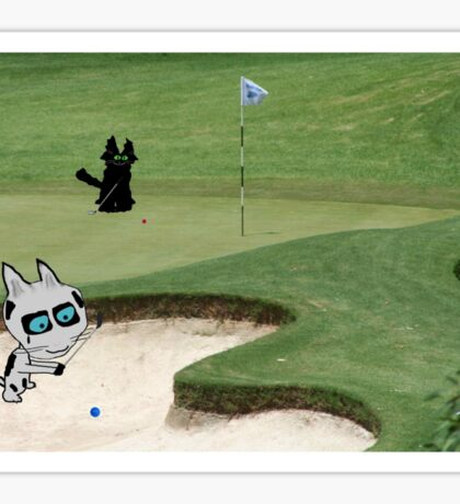 Cats Playing Golf Sticker