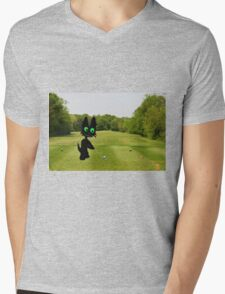 Cat Teeing Off Mens V-Neck T-Shirt