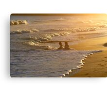 Children in Caribbean Waves Canvas Print