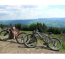 Bikes and View of Scottish Borders Photographic Print