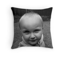 Boy looking in camera Throw Pillow