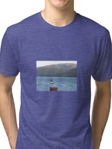 BOATING ON THE LOCHS OF SCOTLAND Tri-blend T-Shirt