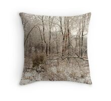 iced trees - colors skewed Throw Pillow