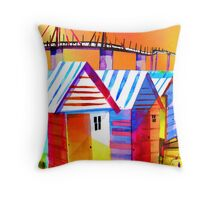 Brighton Beach Houses, Melbourne Australia Throw Pillow