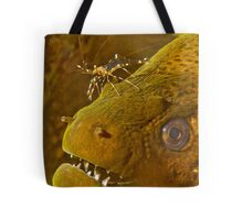 Cleaner Shrimp on Moray Tote Bag