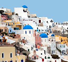 Sugar Cube Houses in Oia on Santorini by BRENDA KEAN