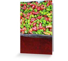 Seasoning peppers in a wheelbarrow in a market Greeting Card