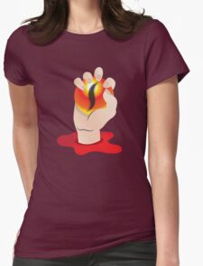 Hand grasping an orb with a tigers eye Womens Fitted T-Shirt