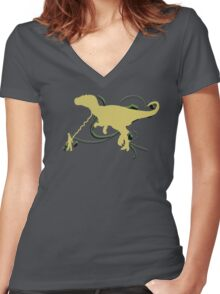 Dino Pet Women's Fitted V-Neck T-Shirt