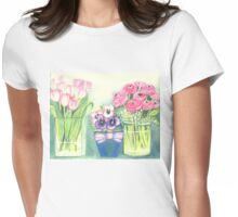 SPRINGTIME FLOWERS - TULIPS - PANSIES - BUTTER CUPS -Colour Pencil and Pastel-Design Womens Fitted T-Shirt